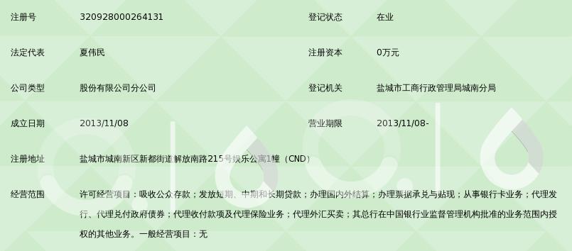 南京银行股份有限公司盐城分行