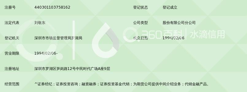 国泰君安证券股份有限公司深圳笋岗路证券营业