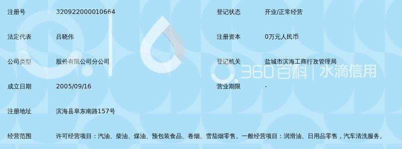 中国石油化工股份有限公司江苏盐城滨海城南加