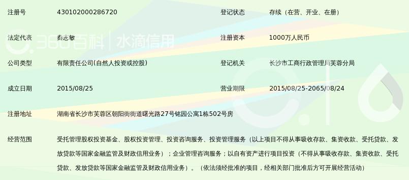 湖南中盛汇鑫私募股权投资基金管理有限公司_